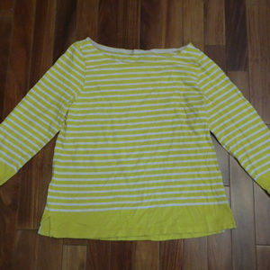 J. Crew Yellow and White Striped Knit Top